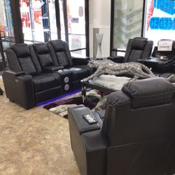 Black Recliner Sofa and Loveseat & Chair for Sale in Detroit,  MI