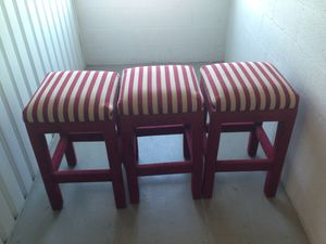 3 beautiful luxury red and cream colored comfy stools for Sale in Boynton Beach, FL