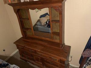Solid oak three piece bedroom furniture for Sale in Dallas, TX