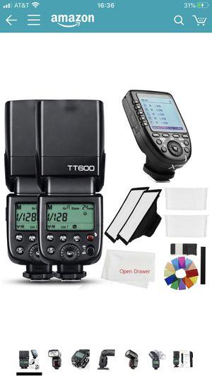 Godox 2X TT600 2.4G HSS Wireless GN60 Master/Slave Camera Thinklite Camer Flash Speedlite Built in Godox X System Receiver with X pro N Trigger Trans for Sale in San Lorenzo, CA