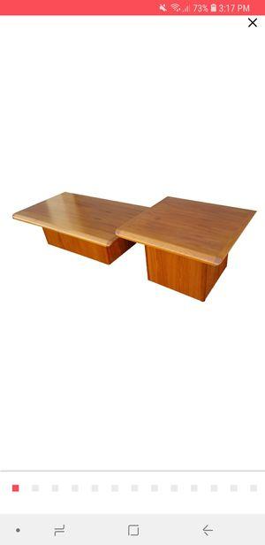 Mid Century Vejle Stole & Mobelfabrik Danish Teak Pedestal Base Coffee Table & End Table. -. for Sale in Phoenix, AZ