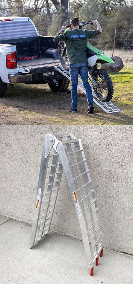 $60 NEW Single 7.5ft Aluminum Motorcycle Folding Loading Ramp Street Dirt Bike 750Lbs Rated