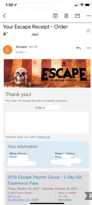 Escape ticket Saturday for Sale in City of Industry, CA