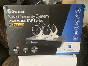 Swann 8 Channel 4 Camera Security System, Wired Surveillance 4K Ultra HD NVR 2TB HDD, Audio Capture, Indoor/Outdoor, Heat & Motion Detection + Night for Sale in Gardena, CA