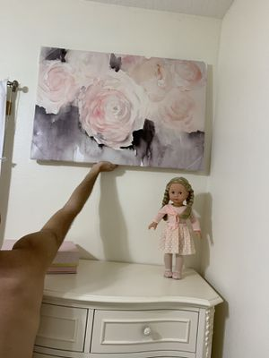 Girls room rose canvas wall art picture frame - new! Never hung. Measures 24x36 for Sale in Hialeah, FL