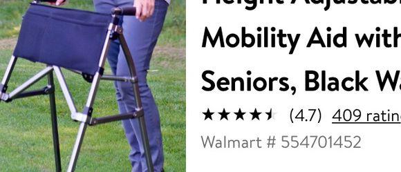 Stander EZ Fold-N-Go Walker, Lightweight Folding 2 Wheel Walker, Height Adjustable Travel Walking Mobility Aid with Swivel Wheels for Seniors, Black W for Sale in Orlando,  FL