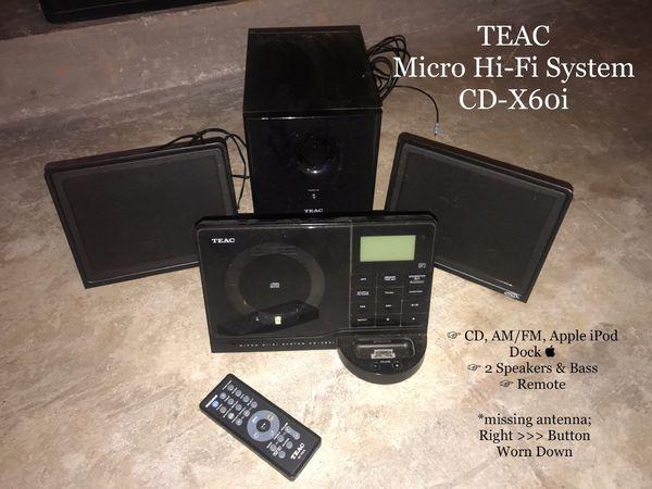 TEAC Micro-Fi System CD-X60i w/ iPod Docking Station + AM/FM Radio