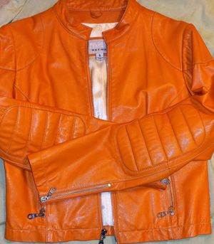 Woman Orange Wilson Leather Jacket Small for Sale in Pittsburgh, PA