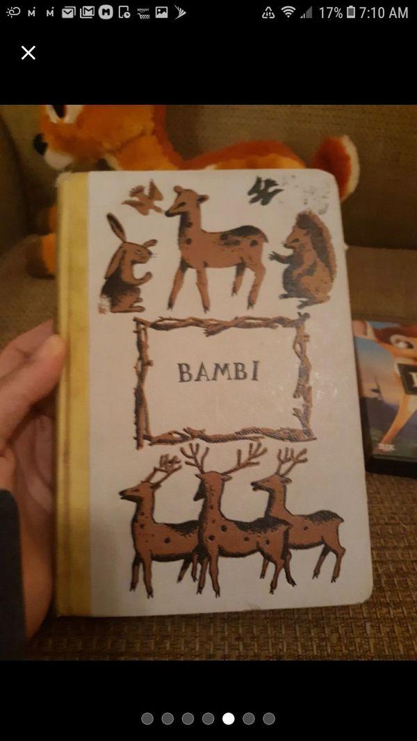 Bambi Disney plush, book, dvd