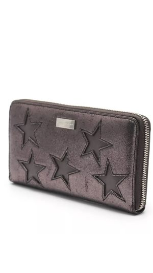 Authentic Stella McCartney round zipperLong wallet leather metallic gray Star for Sale in Calverton, MD