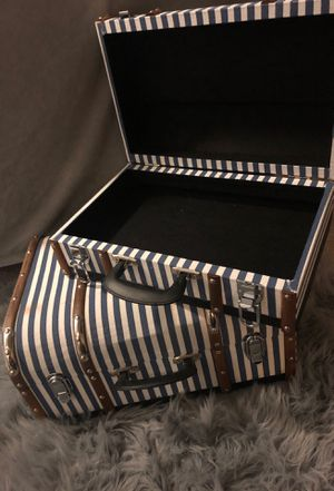 Striped Wooden Luggage Decor/Storage for Sale in Clinton, MD
