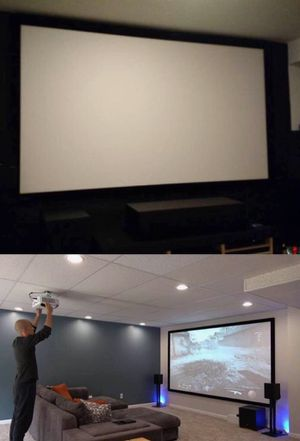 New 120 inches 16:9 ratio PVC fabric roll up projector projection screen with velcro mounts included for Sale in Vernon, CA