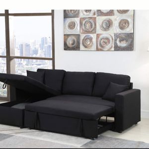 Brand New BLACK Linen Pull Out Sectional Sofa for Sale in Diamond Bar, CA