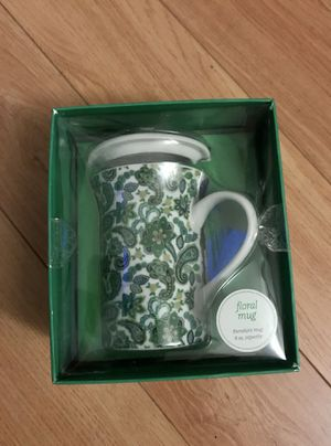 New! Green/Blue Floral Paisley Mug w/lid for Sale in Three Lakes, FL