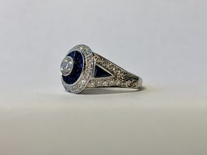 18K White Gold Diamond Sapphire Engagement Ring for Sale in Los Angeles, CA