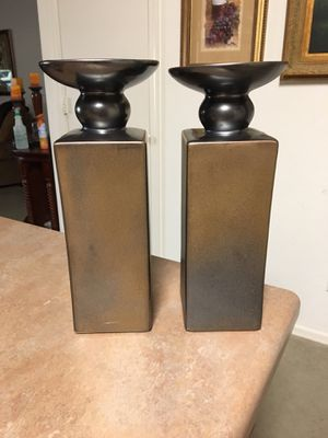 Pair of brown taupe silver vases / candle holders for Sale in El Mirage, AZ
