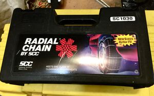 Snow chains, brand new in the box. see photos for a tire size chart which shows which tires that this fits. never used, never unpacked, ( Tire for Sale in San Diego, CA