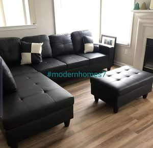 Black leather sectional sofa with storage ottoman for Sale in Buena Park, CA