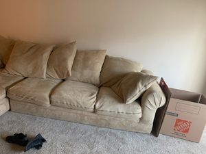 Large couch 2 piece set 5 large pillows 2 smaller pillows pick up only for Sale in Palm Springs, CA