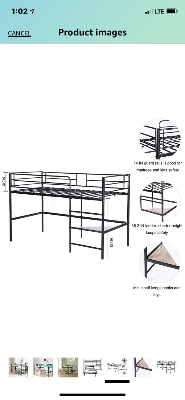 Metal Loft Bed Bunk Bed for Kids Twin Size Low Junior Bunk Bed Frame with Ladder and Shelf, Black