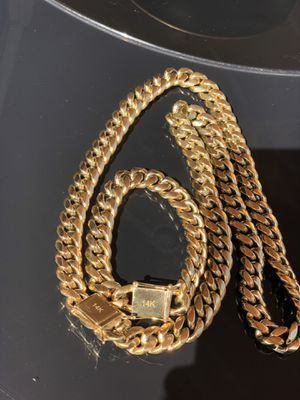 14k-18k gold bonded Miami Cuban chain and bracelet set free 🚚 delivery never fades or turns colors pure stainless steel for Sale in New York, NY