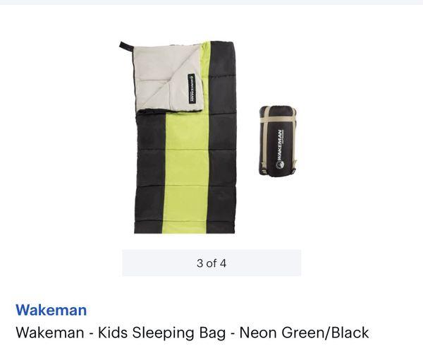 Wakeman - Kids Sleeping Bag - Neon Green/Black