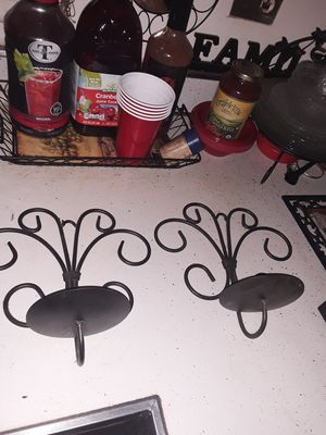 2 wrought iron black candle holder sconces for Sale in Addison, IL
