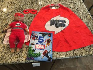 Marvel superhero hardback book with wonder crew doll and matching cape and mask for Sale in Chula Vista, CA