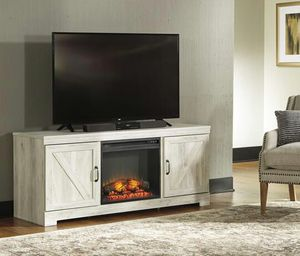 Bellaby Whitewash LG TV Stand with Fireplace Insert | W331-68 for Sale in Austin, TX