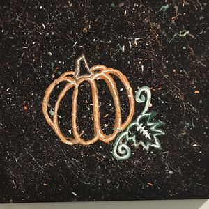 """FALL PUMPKIN HAND PAINTED AT NIGHT 14""""by 14"""" for Sale in Lockport, IL"""