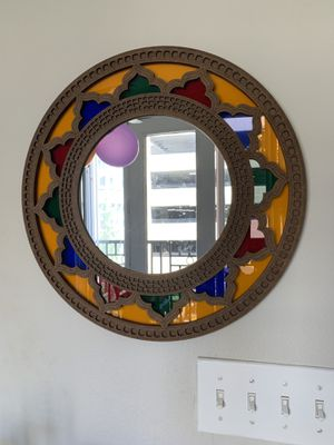 Antique accent mirror. Wooden frame with colorful sheers. for Sale in Atlanta, GA