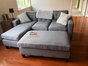 Brand New Light Grey Linen Sectional Sofa Couch + Ottoman for Sale in Wheaton-Glenmont, MD