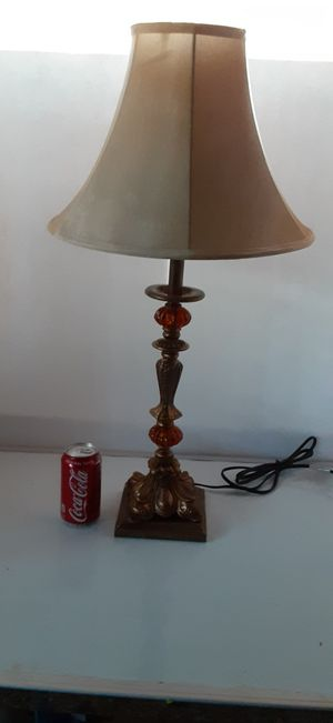 Decorative Amber Color Glass and Metal Lamp with Shade in Canyon Lake for Sale in Menifee, CA