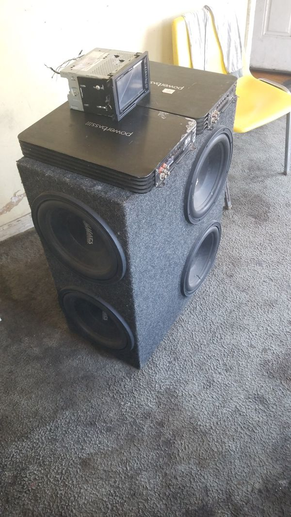 2 powerbass amps 1500 watts a piece and 4 12s mmats pro audio and TV radio double din