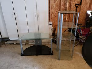 Glass tv stand and shelf for Sale in Columbus, OH