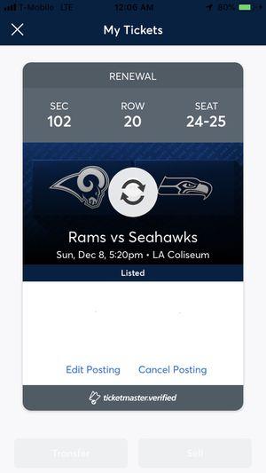 Seahawks vs Rams Sunday 12/8 - $150 obo for Sale in Los Angeles, CA