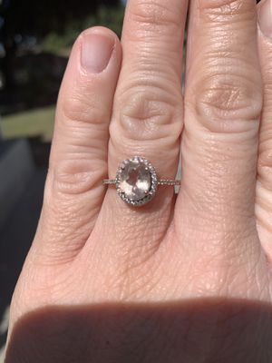 ENGAGEMENT RING! Ten karat rose gold ring with 7x9 oval morganite and forty full cut diamonds with a total carat weight of .24. Size 7.75 for Sale in Riverside, CA