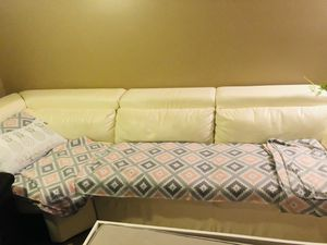 Free White leather couch for Sale in Ontarioville, IL