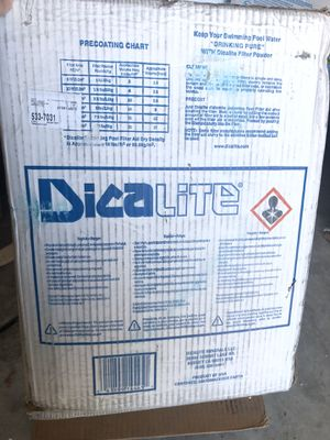 Brand new Dicalite swimming pool filter powder 25 lbs for Sale in West Valley City, UT