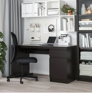 Black desk with drawer and cabinet - new condition from Ikea for Sale in Mableton, GA