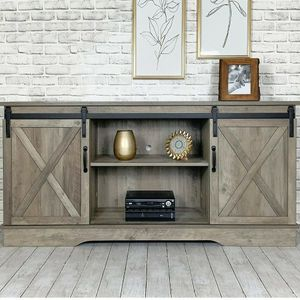 Washed Oak Living Room TV Stand Sliding Barn Door Design up to 65 inch TV for Sale in Rowland Heights, CA