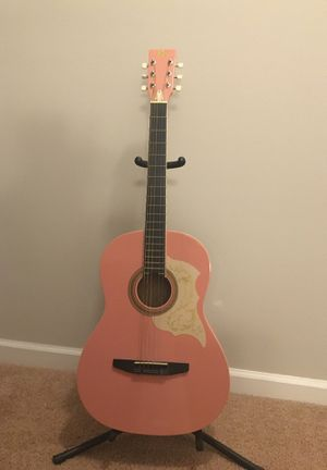 Beautiful pink guitar for sale! for Sale in Raleigh, NC