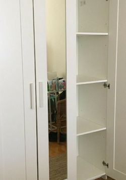 Beautiful Ikea White 3 Doors Mirror Mirrored Closet Armoire Wardrobe Cabinet + 1 Clothes Rod + Adjustable Shelves INCLUDED for Sale in Monterey Park,  CA