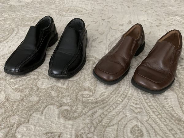 Boys Dress Shoes, No Scuffs, Black-youth size 1, Brown-Toddler size 13