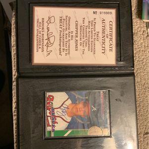 Chipper Jones Autograph Certified Treat Baseball card Cb4 for Sale in Yorba Linda, CA