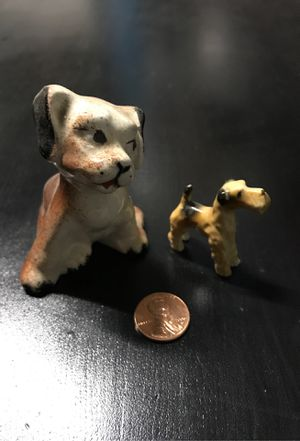 2 Small Porcelain Dogs dog Collectible collectors 1950's home decor toys for Sale in Ripon, CA