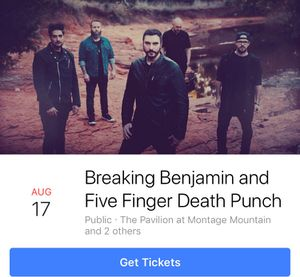 Breaking Benjamin, Five Finger Death Punch concert tickets for Sale in Greentown, PA