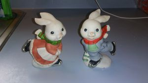 SET OF 2 VINTAGE SKATING CHRISTMAS BUNNY RABBIT FIGURINES for Sale in Voorhees Township, NJ