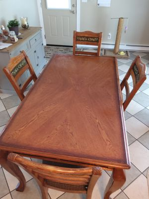 Wood dining room table and 4 chairs cash only for Sale in Verona, VA