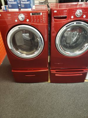 red lg washer and dryer set with pedestal in excellent condition for Sale in Baltimore, MD